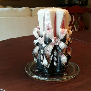 Decorative Wax Candle with Holder